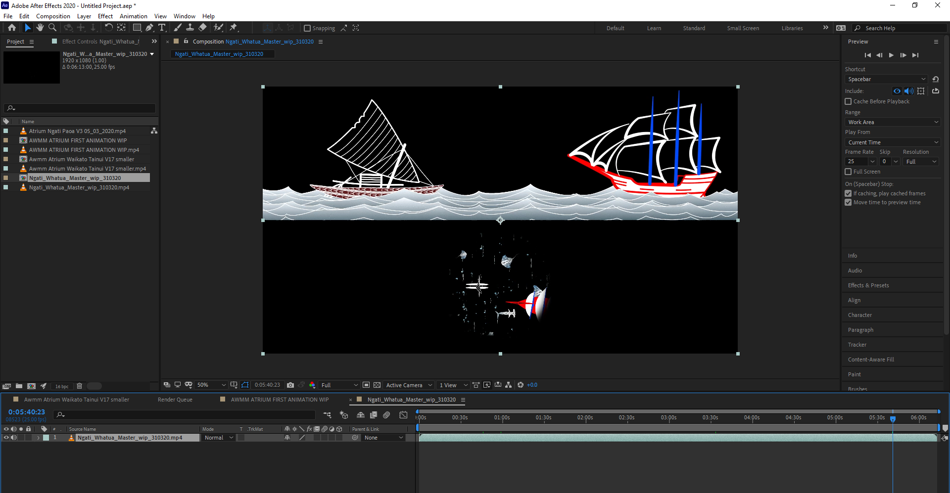 Adobe After Effects 2020 Y AWMM ATRIUM ARCHIVE kato Tainui MASTER 13 01 2021 Awmm Atrium Waikato Tainui timeline V32 aep 23 03 2021 1 05 18 PM